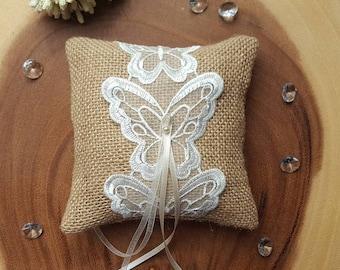 Burlap Ring Pillow~Butterfly Ring Bearer Pillow~Hessian Wedding Ring Cushion~Wedding Ring Holder~Rustic Wedding Decor~Rustic Wedding