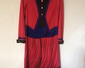 ROBERTA di CAMERINO  authentic vintage 1970s red Trompe l'oeil printed dress New/Never used - size S