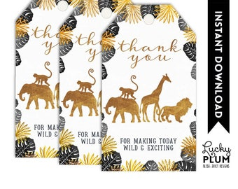 Safari Favor Tag / Safari Gift Tag / Safari Thank You Tag / Black Gold Animal Jungle Zoo Wild One Boho / *Digital Printable SF02