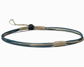 Round blue leather & hemp surfer style necklace