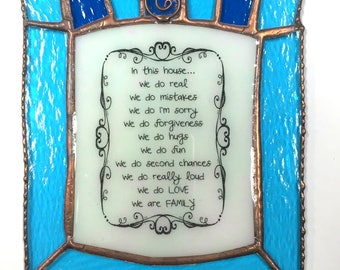 """Stained Glass """"In This House... We Do Love"""" Text Sun Catcher"""