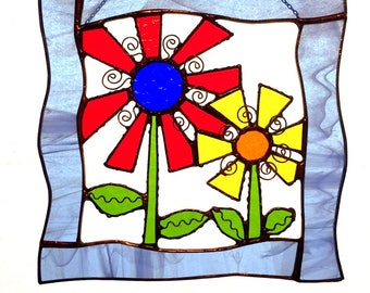 Stained Glass Flowers in an Open Frame