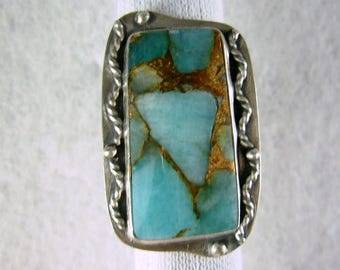 PRICE REDUCED holiday sale   Apatite infused with bronze composite LARGE sterling silver ring by Chelle' Rawlsky * aprox. 7 layaway avaible