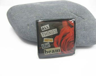 All Things Serve The Beam Dark Tower Pin, Stephen King Fan Collage Art Brooch