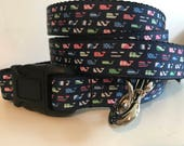 Large 1 inch Navy Blue with Colorful Whales Nautical Leash and Collar Set