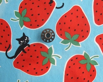 REMNANT PIECES Cats and Strawberries Japanese Fabric