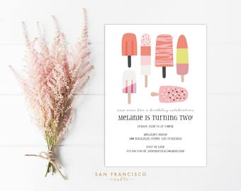 Ice Cream Party Invitation INSTANT DOWNLOAD    Printable Birthday Party Invite   Pink, Girl Birthday, Ice Cream Social   PDF