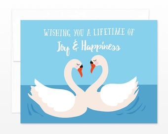 Swans Wedding Card - Wishing You a Lifetime of Joy & Happiness - Together Forever Greeting Card