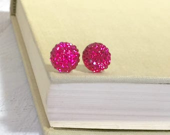 Little Bright Pink Sparkling Bumpy Druzy Round Circle Stud Earrings with Surgical Steel Posts