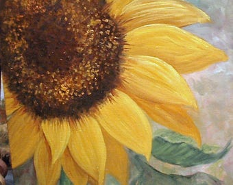 Square Sunflower, oils on gallery wrap canvas, Barbara Haviland