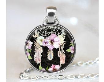 Boho Art Pendant, Watercolor Pendant, Flower Art Necklace, Glass Dome Pendant, Feather Flower Glass Pendant, Dreamcatcher Art Pendant, 1451