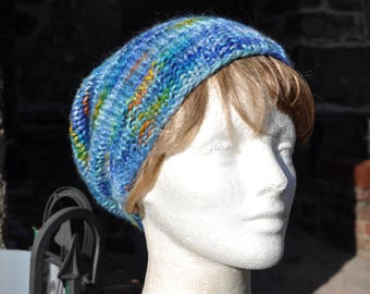 Wool Knit Slouchy Hat - Multi-Colored Blue Knit Hat - Woman's Hat in Baby Alpaca - Blue Hat