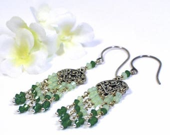 Green Crystal Chandelier Earrings Spring Green - Crystal Earrings - Green Chandeliers - Gift for Her - Handmade Earrings - Green Earrings