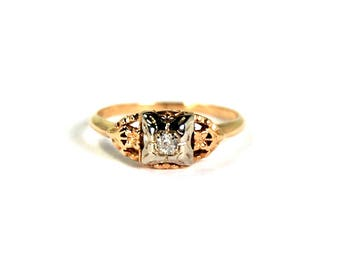 Antique Art Deco Diamond Ring 14k Yellow and White Gold Two Toned Size 5 Floral Motif Circa 1920