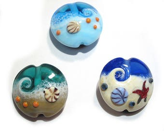 Handmade glass Lampwork beads, Ocean Wave Lentils