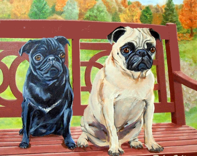 Custom Pet Portrait, Custom Dog and Cat Portrait Artist, Custom Portrait Art, Pugs Gift Certificate
