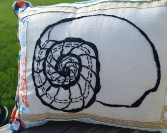 Ammonite Nautilus hand embroidered pillow
