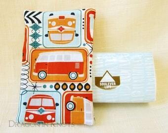 Retro Caravan Travel Tissue Holder - brightly colored camper bus facial tissue cover, minibus wagon, hippie van, pocket tissue case