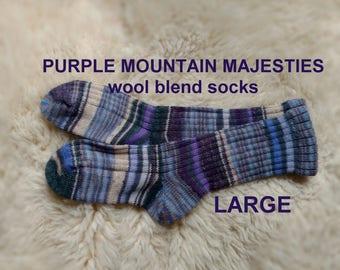 Purple Mountain Majesties Socks --- washable wool blend --- LARGE