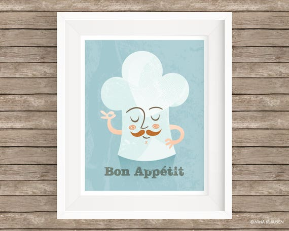 Bon Appetit Digital Art Print / Chefs Hat Wall Art / P0003