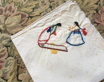Vintage Linens, Handkerchief and Small Dresser Scarf, Cotton Linens, Embroidery, Cross Stitch, Native American Teeter Totter Jockey Horse