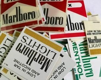 SALE 10pcs CIGARETTE VENDING Labels Vintage Plastic Marlboro Branding No Reds