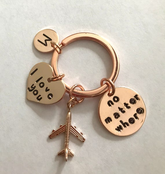 No Matter Where Personalized Keychain,Rose Gold Initial Keyring,Best Friend Keychain,Airplane Keyring,I Love You Charm, Free Shipping In USA