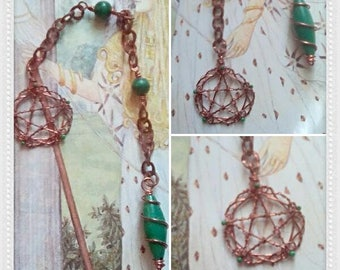 Gemstone Pendulum,  Spiritual Pendulum,  Malachite Pendulum, Divination Tool, Dowsing Pendulum, Spirituality Tool,  New Age Pendulum