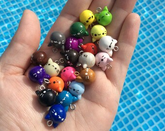Kitty Head Clay Charms~Mulitiple colors