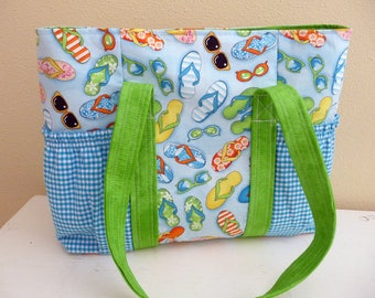 Large Summer Time Beach Theme Tote Bag, Flip Flops and Sunglasses, Exterior Pockets