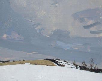 Snow Fields, Bailieboro, Original Winter Landscape Painting on Panel, 8 x 8 Inches, Stooshinoff