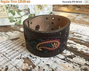 MEMORIAL DAY SALE- Custom Leather Cuff-Create Your Own--Word Cuff-Embroidered Paisley