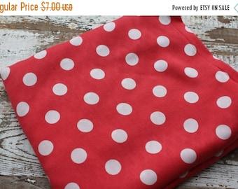 CRAZY SALE- Polka Dot Fabric-Summertime Dress Fabric--Lightweight Blend-Rayon-Pink Red