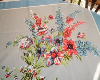Vintage Tablecloth Blue Grey Coral Spring Green Florals 48 x 50 inches