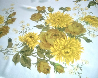 Vintage Tablecloth Golden Yellow Green Roses and Mums 48 x 62 inches