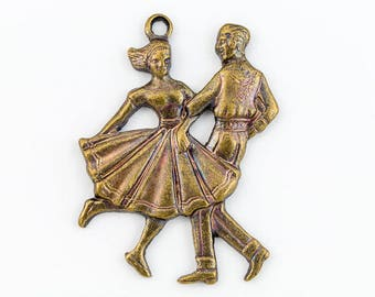 25mm Antique Brass Dancing Couple Charm  #1166A