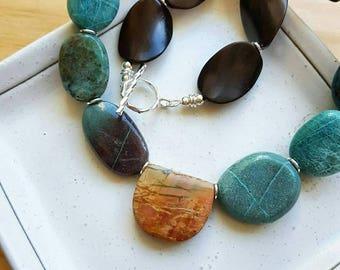 Maya -  picasso jasper, chrysocolla, ebony wood and sterling silver necklace