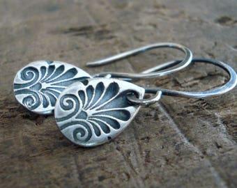 NEW French Quarter Earrings - Tear - Oxidized fine & sterling silver. Handmade