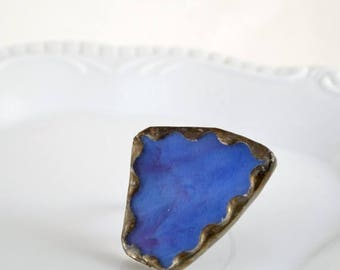 SUMMER SALE Recycled Stained Glass Ring -  Blue