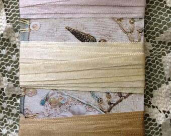 Hand dyed 4mm silk ribbon ecru