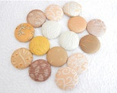 CLEARANCE - 15 gold beige yellow fabric covered buttons, size 60, 1.5 inches, Lot 1