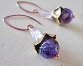 LOVE Stone Amethyst & Rose Quartz Belle Fleur Earrings - Vintage brass - Etsy Accessories - Jewelry - Flower - catROCKS - Pink Purple