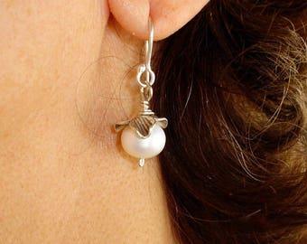 Pearl Earrings Fine Silver Frower White Cultured pearl Earrings