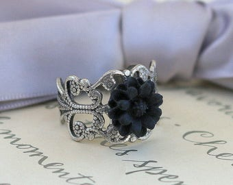 Black or Cream Flower ring - choice of two styles