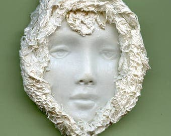 Polymer Clay One of a Kind White Pearl  Face with Fabric  Cab FFP 1