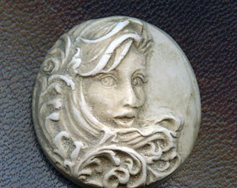 Faux Marble Polymer Clay Mermaid face  Cab Un drilled NANFC 1