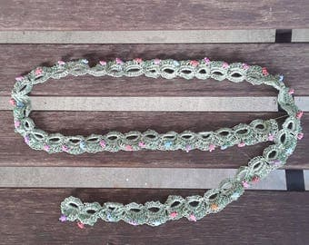 Crocheted Cotton Edging Trim with Tiny Turtles and Glass Beads for Sewing and Crafts
