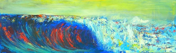 Abstract oil Painting Seascape Wave Original Artwork 40x12 by BenWill