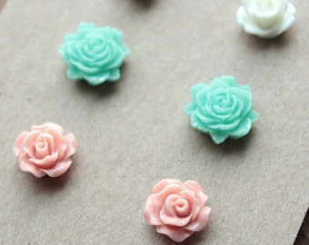 Post Earrings - 3 pairs - Plastic - Surgical Steel - Ivory, Mint, Rose