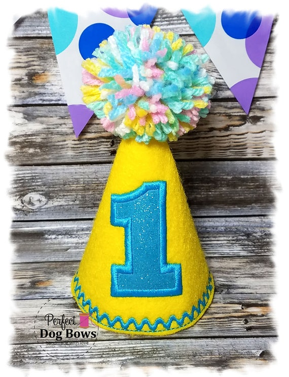 Dog Birthday Hat, Yellow Dog Party Hat, Party Hats, Dog's First Birthday, Party Favors